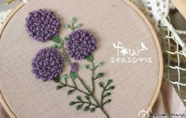 Цветы объемной вышивкой гладью. Красивые работы (47) (637x405, 181Kb)
