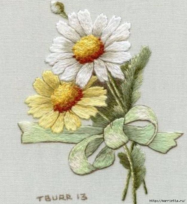 Цветы объемной вышивкой гладью. Красивые работы (53) (626x682, 268Kb)