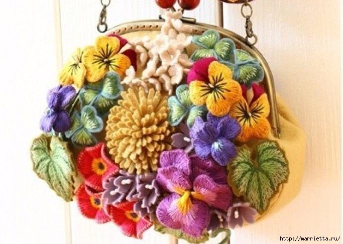 Вышивка объемными цветами 63