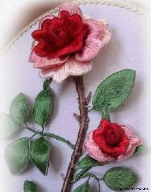 Цветы объемной вышивкой гладью. Красивые работы (61) (525x666, 200Kb)
