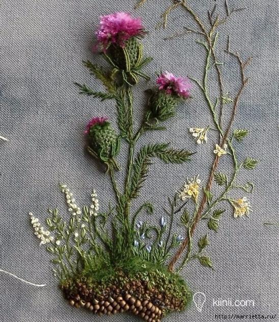 Цветы объемной вышивкой гладью. Красивые работы (63) (548x631, 403Kb)