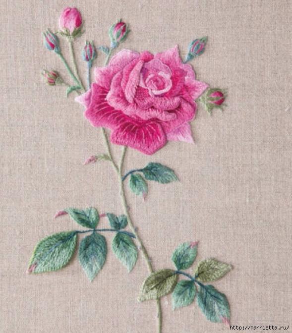 Вышивка объемными цветами 40
