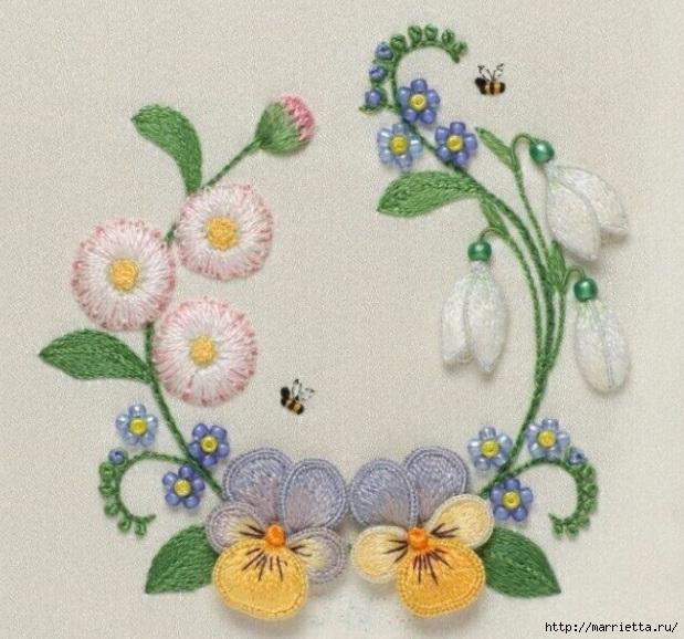 Цветы объемной вышивкой гладью. Красивые работы (67) (619x578, 243Kb)