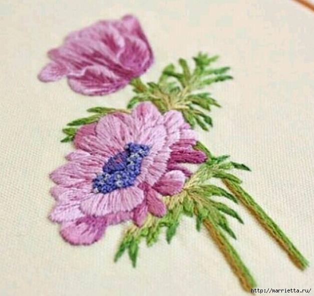 Цветы объемной вышивкой гладью. Красивые работы (69) (627x591, 192Kb)