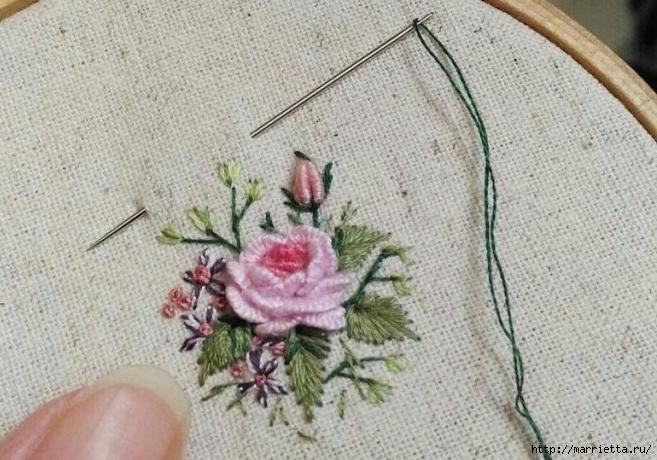 Цветы объемной вышивкой гладью. Красивые работы (71) (657x460, 237Kb)