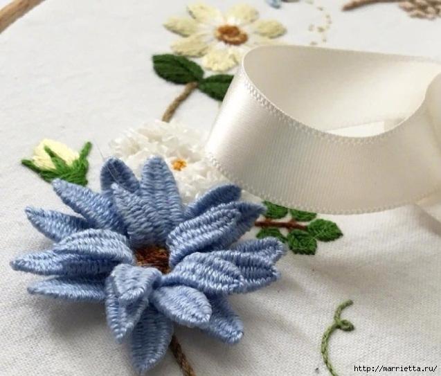 Цветы объемной вышивкой гладью. Красивые работы (73) (637x543, 199Kb)