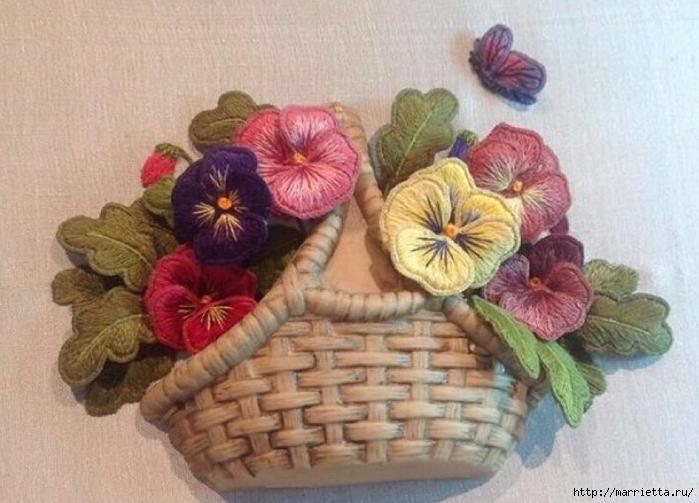Цветы объемной вышивкой гладью. Красивые работы (75) (700x503, 246Kb)
