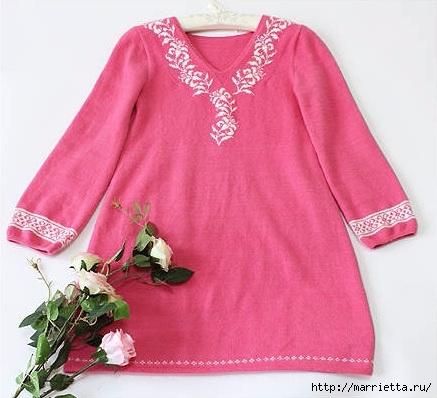 Платье спицами с жаккардовой каймой (2) (437x398, 112Kb)