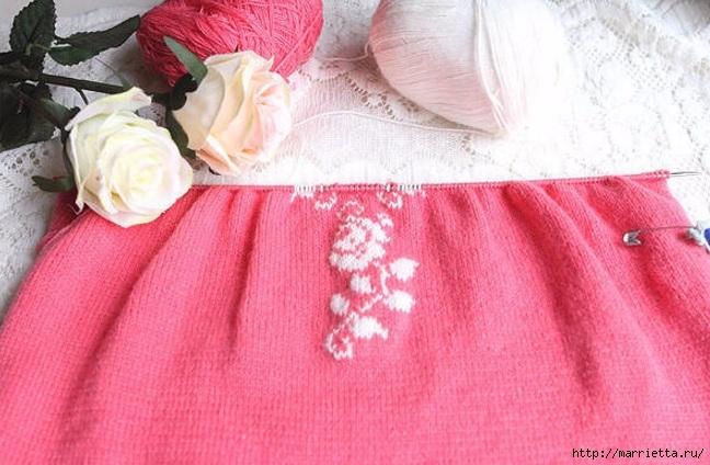 Платье спицами с жаккардовой каймой (4) (648x424, 200Kb)