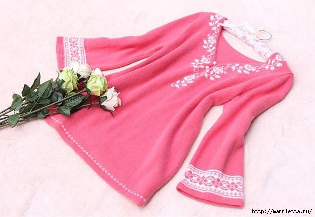 Платье спицами с жаккардовой каймой (12) (628x433, 159Kb)