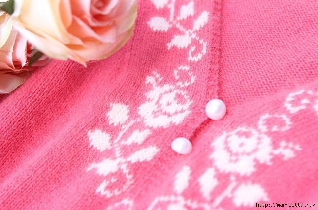 Платье спицами с жаккардовой каймой (18) (646x427, 197Kb)