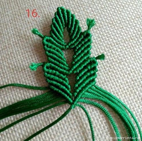 Плетение красивых листиков в технике макраме (2) (495x492, 213Kb)