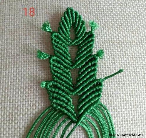 Плетение красивых листиков в технике макраме (8) (497x469, 204Kb)