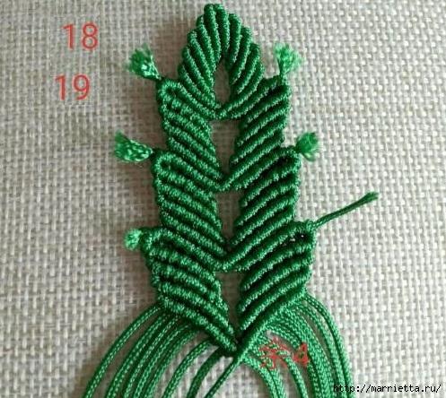Плетение красивых листиков в технике макраме (18) (497x444, 206Kb)