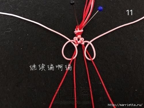 Плетение браслетика с цветочками в технике макраме (11) (500x375, 118Kb)