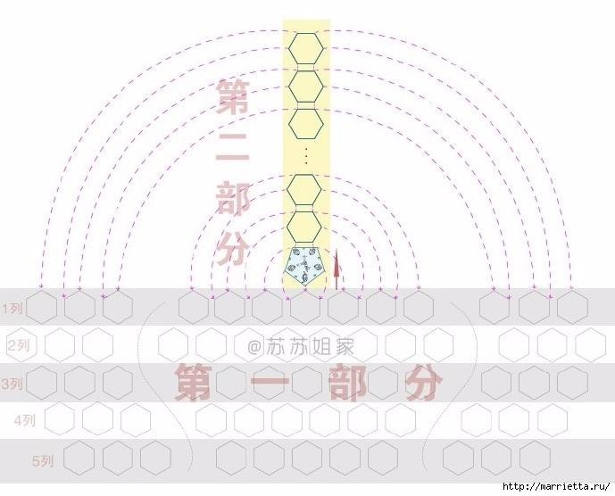 Сумочка крючком цветочными мотивами безотрывным вязанием (11) (689x556, 176Kb)
