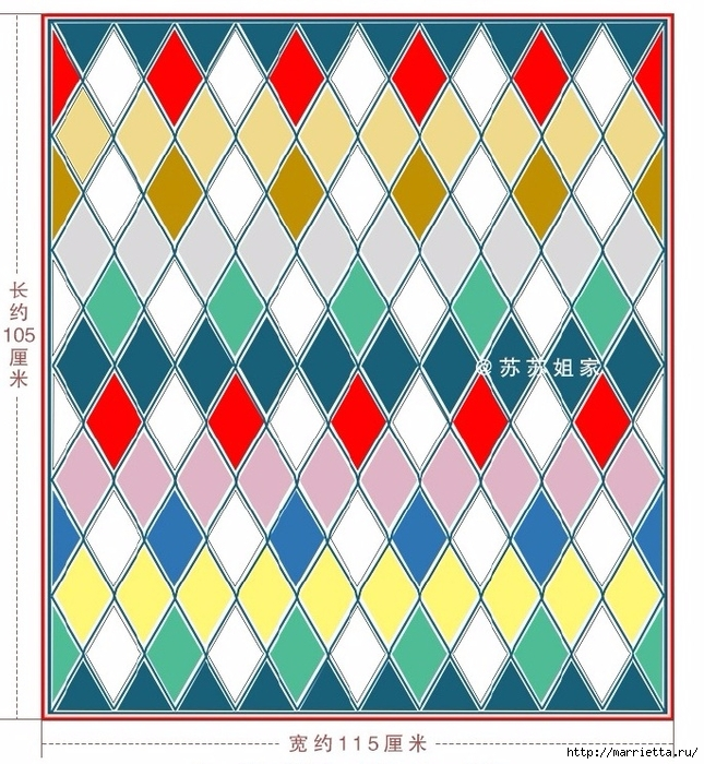 Плед крючком из разноцветных ромбов. Схемы вязания (3) (645x700, 388Kb)