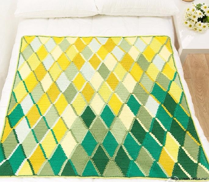 Плед крючком из разноцветных ромбов. Схемы вязания (14) (685x595, 373Kb)