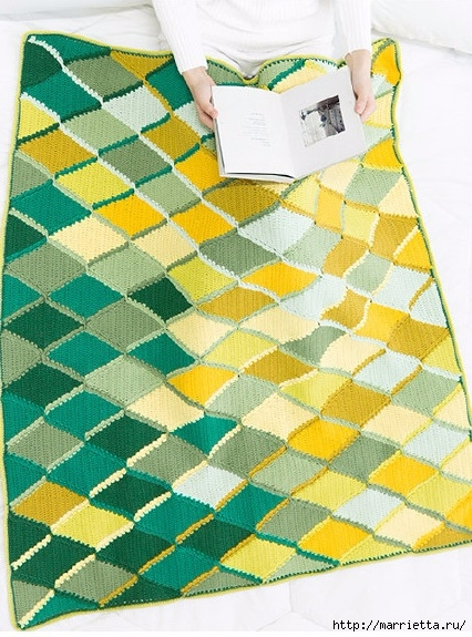 Плед крючком из разноцветных ромбов. Схемы вязания (16) (426x575, 238Kb)