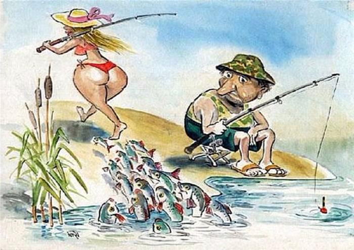 Прикольные открытки с рыбалкой в