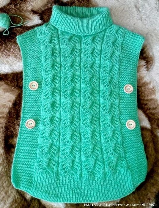 Вязание спицами безрукавок для девочки 564