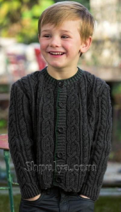 Жакет с косами для мальчика спицами, жакет для мальчика описание схема, вязаный жакет для мальчика 8-10 лет, вяжем детям, кофта для мальчика спицами, сайт о вязании,/5557795_01 (401x700, 179Kb)