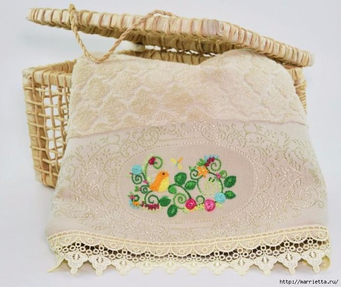 Украшение полотенца вышивкой с птичками (1) (700x588, 287Kb)