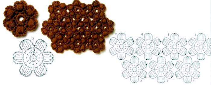 Вязание крючком цветочков из пышных столбиков 82