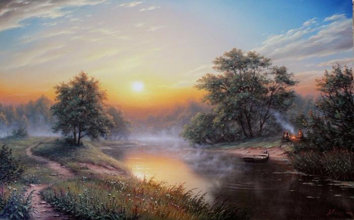 3. Рассвет на реке (700x434, 325Kb)