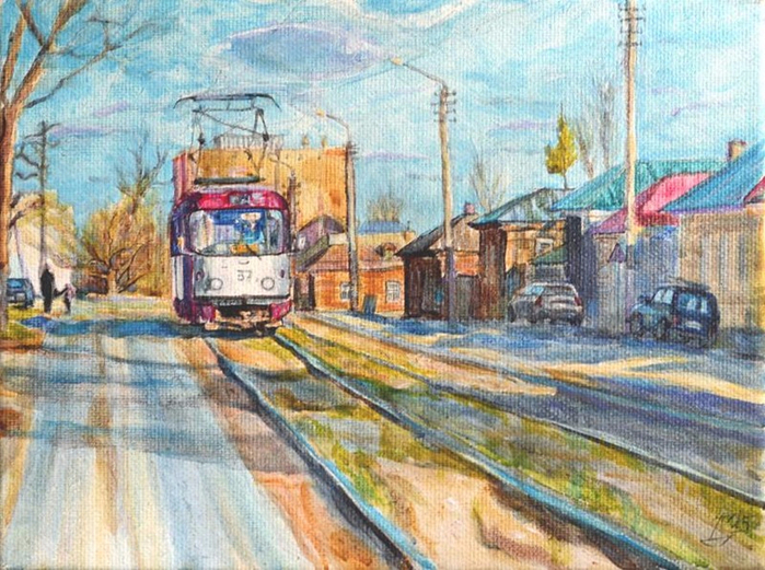3.  «Весенний трамвай» (Тула, улица Епифанская, весна 2015) — холст, акрил. Дима Гура (700x521, 495Kb)