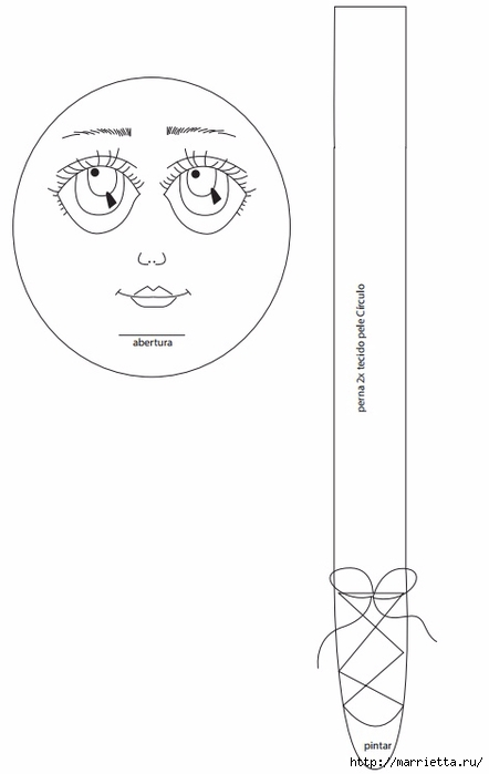 Выкройка куклы Ведьмочки с черной кошкой (2) (442x700, 59Kb)