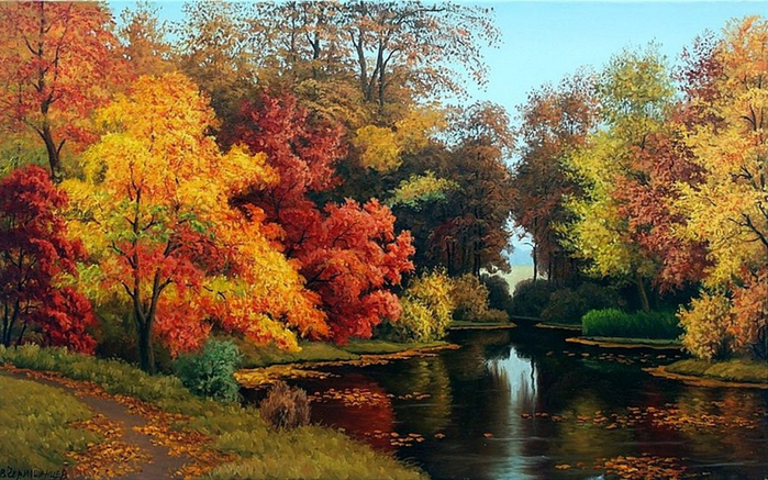 ws_Adorable_Autumn_Forest_&_Pond_1440x900 (700x437, 442Kb)