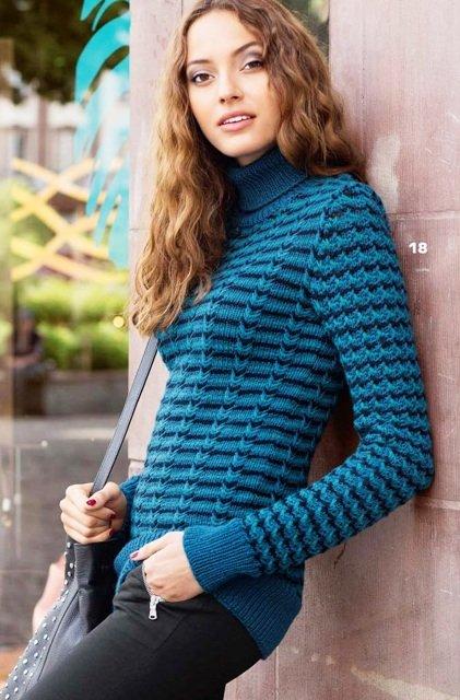 Пуловер с трехцветным узором