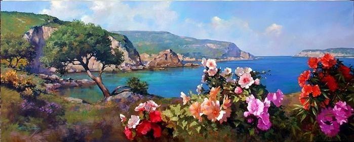 Итальянский художник Спартако Ломбардо— яркий южный пейзаж