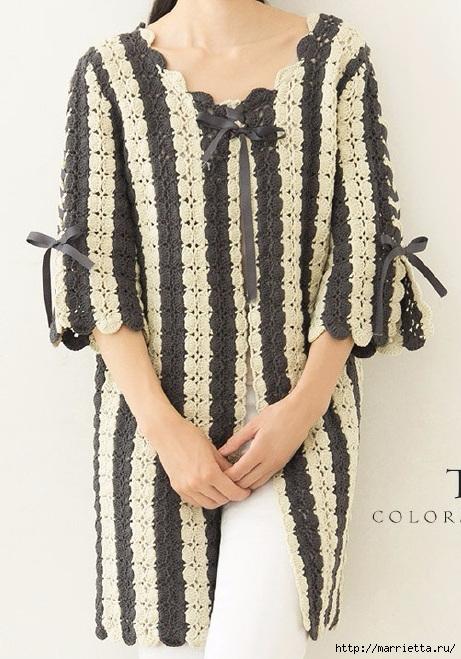 Крючком. Вязаное полосатое пальто в стиле ретро (2) (461x659, 236Kb)