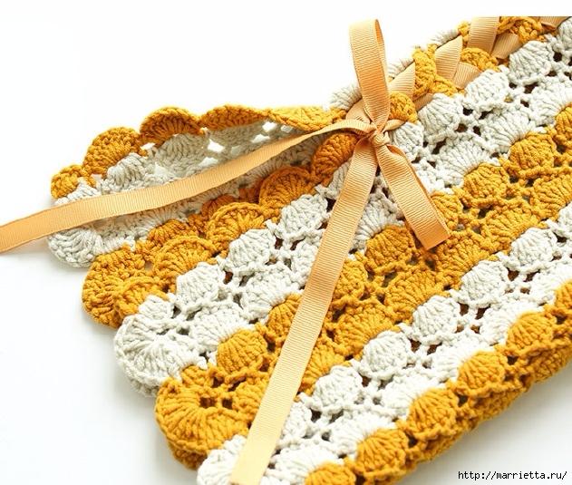Крючком. Вязаное полосатое пальто в стиле ретро (4) (631x535, 291Kb)
