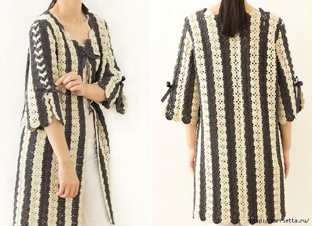 Крючком. Вязаное полосатое пальто в стиле ретро (6) (633x458, 244Kb)