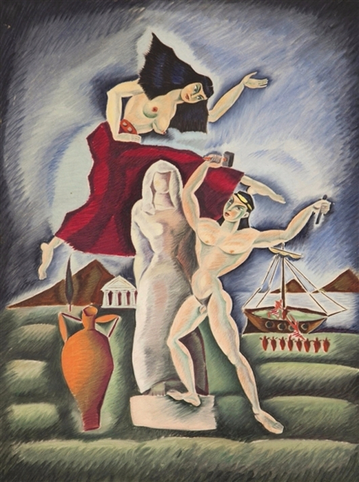 Nikos Engonopoulos (1910-1985) - The Poet and his Muse  (521x700, 402Kb)