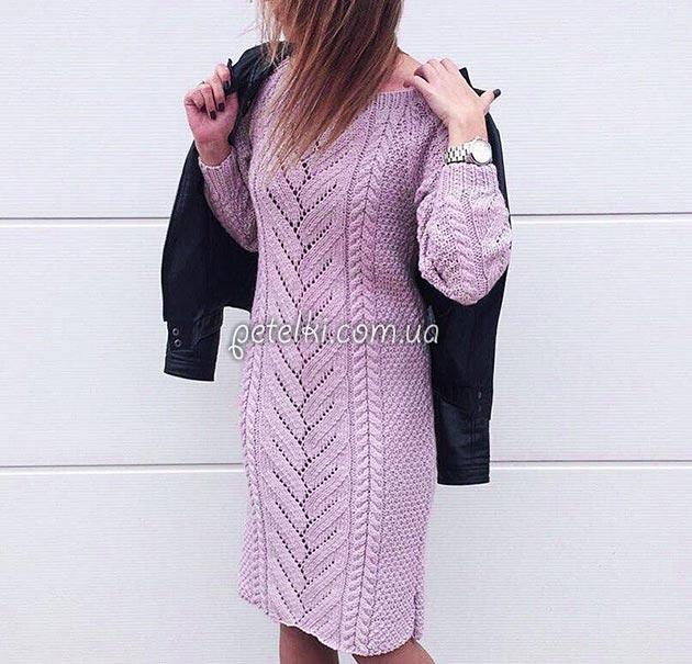 теплые вязаные платья спицами схемы