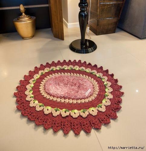 Крючком. Овальный коврик цвета бордо (2) (483x500, 124Kb)