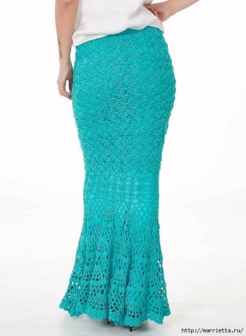 Длинная ажурная юбка крючком. Схема узора (3) (480x654, 191Kb)