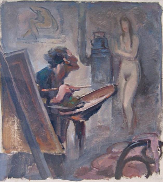 Георги Герасимов (1905 -1977) - В ателието (628x700, 425Kb)