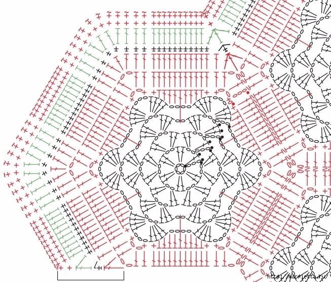 Крючком. Коврик со снежинками (4) (653x557, 402Kb)