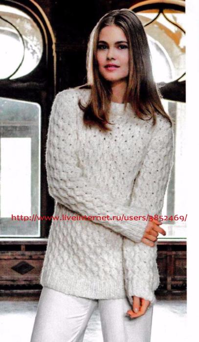 Белый пуловер связанный вафельным узором 3 (407x700, 265Kb)