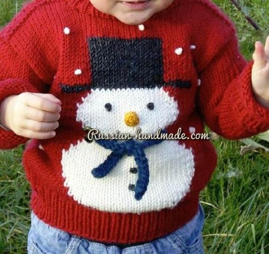 Детский пуловер со снеговиком (1) (532x501, 296Kb)