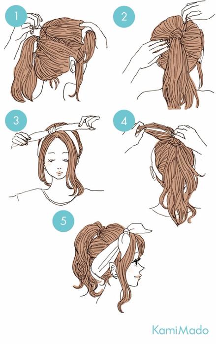 9. Такой хвостик поможет зрительно увеличить длину и объем волос. (439x700, 214Kb)
