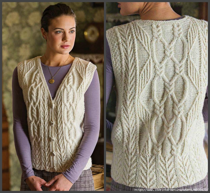 Женская вязаная безрукавка «Tree of Life». Tree of Life Aran Vest by Anne Carroll Gilmour