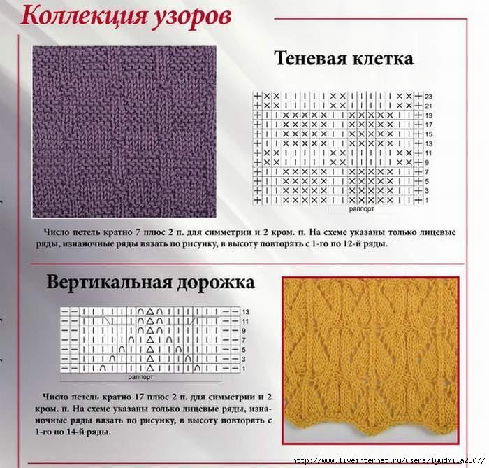 Узоры для теневого вязания спицами 7
