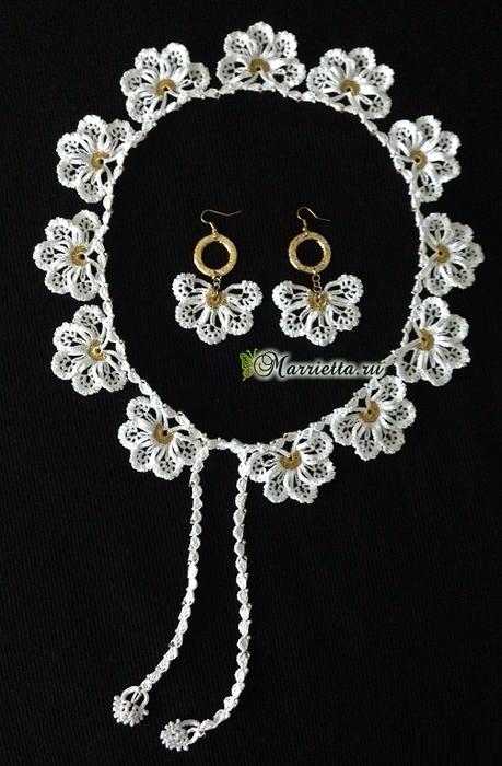 Сережки и ожерелье крючком. Схемы вязания (2) (459x700, 291Kb)