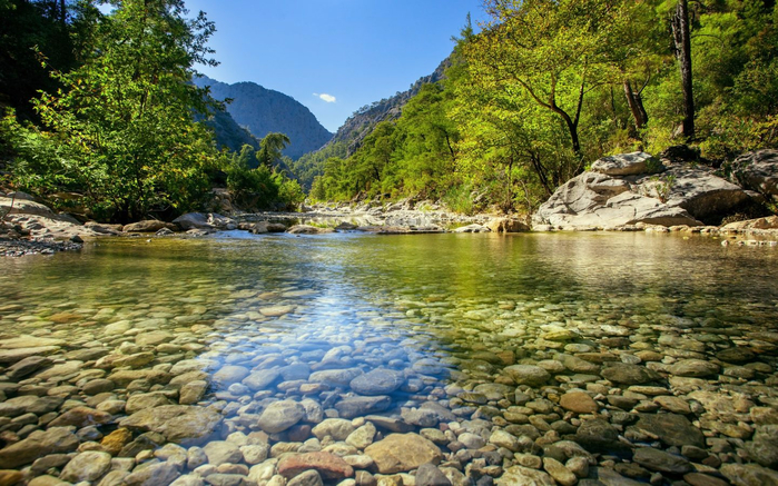 Zrmanja-river-in-northern-Dalmatia-Croatia-clear-water-rocks-gravel-forest-green-trees-blue-sky-Landscape-Hd-Wallpaper-3840x2400-1440x900 (700x437, 474Kb)